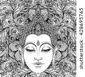 buddha over ornate mandala...   Shutterstock .eps vector #428695765