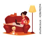 young mother is working at home ... | Shutterstock .eps vector #428698294