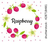cute vector card with raspberry ... | Shutterstock .eps vector #428718481