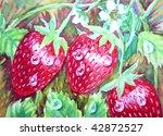 three strawberries   Shutterstock . vector #42872527