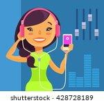 girl listening to music. vector ... | Shutterstock .eps vector #428728189