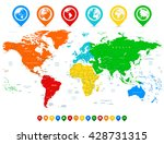 detailed vector world map with... | Shutterstock .eps vector #428731315