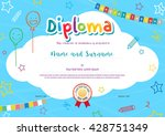 colorful diploma certificate... | Shutterstock .eps vector #428751349