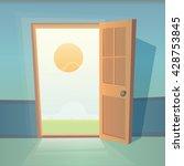 dreams comes true. open door... | Shutterstock .eps vector #428753845