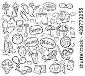 beach day doodle icons hand made | Shutterstock .eps vector #428773255