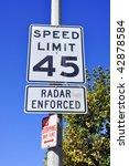 45 miles per hour sign  radar... | Shutterstock . vector #42878584