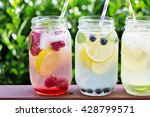 variety of lemonade in mason... | Shutterstock . vector #428799571