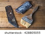 old brush  sandpaper and knife... | Shutterstock . vector #428805055
