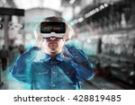 man wearing virtual reality... | Shutterstock . vector #428819485