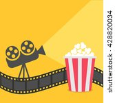 popcorn. film strip border.... | Shutterstock .eps vector #428820034