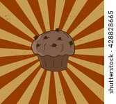 muffin with chocolate chip in... | Shutterstock .eps vector #428828665