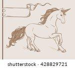 running unicorn in vintage... | Shutterstock .eps vector #428829721