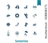 summer and beach simple flat... | Shutterstock . vector #428848171