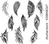 hand drawn doodle feather set | Shutterstock .eps vector #428848267