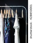 female clothes hanging on rack  | Shutterstock . vector #428853001