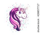 magic unicorn with confetti.... | Shutterstock .eps vector #428857717