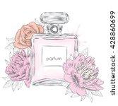 perfume bottle and flowers.... | Shutterstock .eps vector #428860699