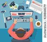 Blogger At The Desktop  Workin...