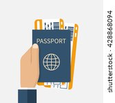 passport with tickets flat icon ... | Shutterstock .eps vector #428868094