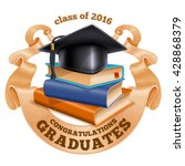 black graduation cap on stack... | Shutterstock .eps vector #428868379