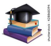 black graduation cap on stack... | Shutterstock .eps vector #428868394