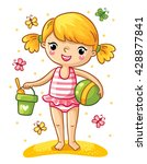 a cute little girl playing in...   Shutterstock .eps vector #428877841