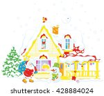 santa claus brought gifts to a... | Shutterstock .eps vector #428884024