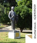 "Small photo of ISTANBUL, TURKEY - MAY 30, 2016:Bronze statue of the murdered 12 intellectuals between 1978 and 1999 ""Democracy Hero"" project was erected by Abbas Aga Park in Besiktas."