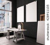 desk in hipster style loft.... | Shutterstock . vector #428911105