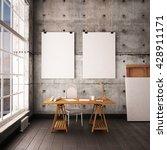 desk in hipster style loft.... | Shutterstock . vector #428911171