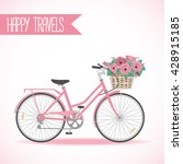 cute bicycle with basket full... | Shutterstock . vector #428915185