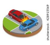 car accident or crash. flat 3d...   Shutterstock .eps vector #428915569