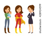 super woman concept. mom with...   Shutterstock .eps vector #428924599