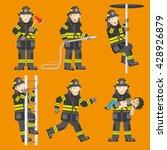fireman in black uniform... | Shutterstock .eps vector #428926879