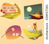 camping and hiking cartoon set... | Shutterstock .eps vector #428927281