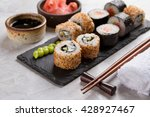 sushi rolls set with marinated... | Shutterstock . vector #428927467