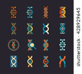 Dna Genetic Vector Flat Icons...