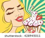 girl eating cake. vector retro... | Shutterstock .eps vector #428945011