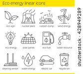 eco energy linear icons set.... | Shutterstock .eps vector #428949289