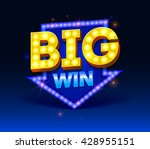 retro sign with lamp big win... | Shutterstock .eps vector #428955151