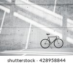 Horizontal Photo Blank Grungy Smooth Bare Concrete Wall in Modern Loft Studio with Classic bicycle. Soft Sunrays Reflecting on Surface. Empty Abstract background - stock photo