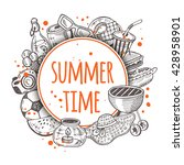 summer time. hand drawn vector... | Shutterstock .eps vector #428958901