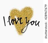 gold glitter heart sign... | Shutterstock .eps vector #428967679