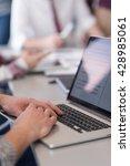 close up of business man hands... | Shutterstock . vector #428985061