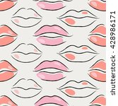 seamless pattern with pink lips.... | Shutterstock .eps vector #428986171