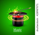 magic hat with magic wand....   Shutterstock .eps vector #428987071