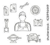 professional auto mechanic... | Shutterstock .eps vector #428996449