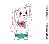 cute  funny cartoon rabbit in... | Shutterstock .eps vector #429051214