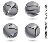 3d cut metal sphere signs... | Shutterstock .eps vector #429077005