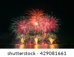 Colorful Fireworks On The Blac...